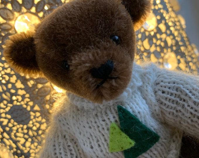 Mama Bear Mother's Day Mohair Teddy Bear traditional jointed handmade eco gift