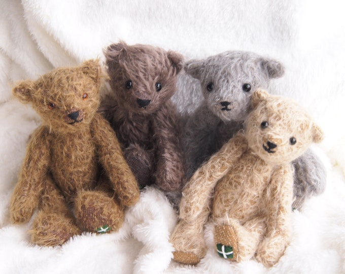 Mohair traditional Jointed Teddy Bear Pattern make an Eco Gift with DevonGrizzlies