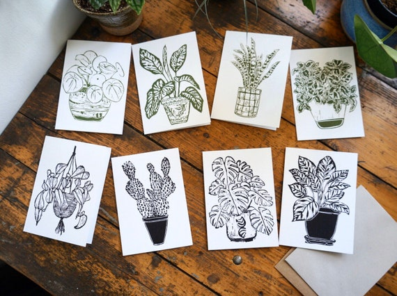 Indoor plants 'plant lyf' greetings cards