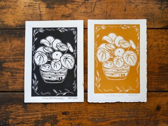 Original Linocut print 'Pilea Peperomioides' Chinese money plant.