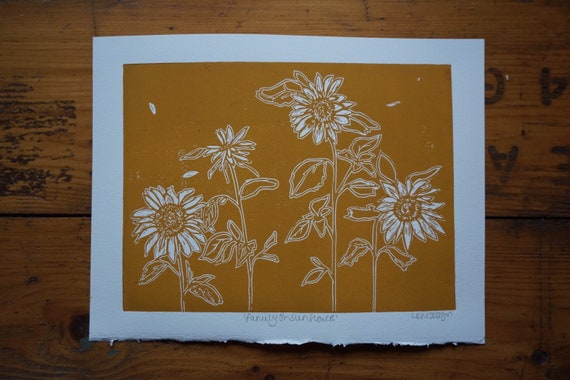 Original Linocut Print 'Family of Sunflowers'