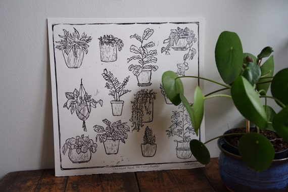 Original Linocut houseplant print 'Can never have too many plants!'