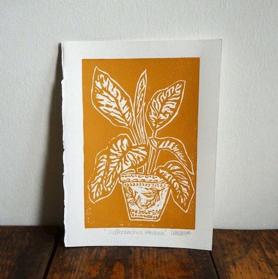 Original Linocut print 'Dieffenbachia Amoena' Dumb cane.