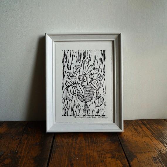 Original Linocut print 'Philodendron Scandens' Trailing plant.