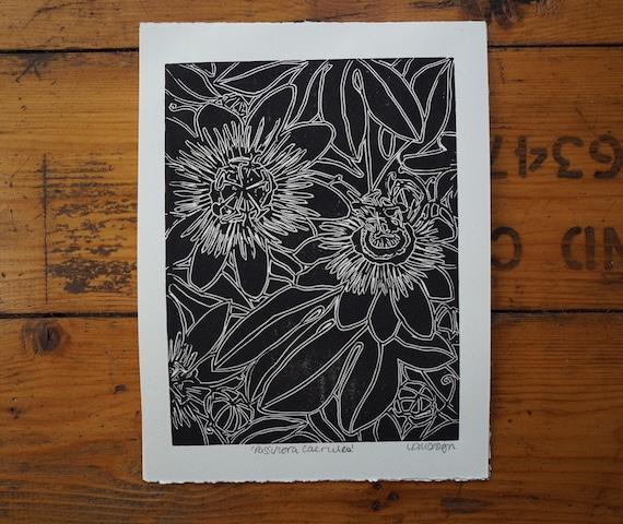 Original Linocut Print 'Passiflora Caerulea' Passion Flower