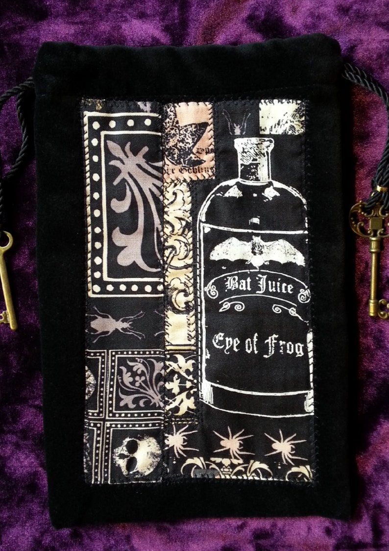 Skeleton Key Accents. Runes Pouch Crystals Gothic Black Velour Drawstring Dice bag Tarot bag