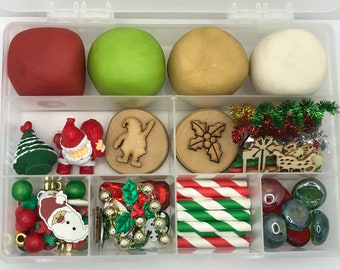 PREORDER!! Christmas Sensory Play Dough Kit Santa Christmas tree loose parts