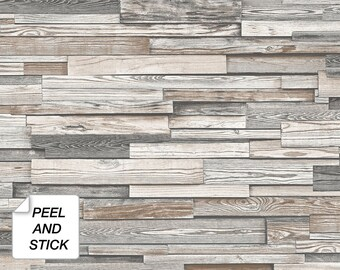 Peel And Stick Wallpaper Wood Etsy