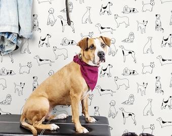 Wallpaper | Peel and Stick Wallpaper | Peel and Stick | Dog Wallpaper | Self Adhesive Wallpaper | Stacy Garcia | Dog Peel Stick | Mudroom