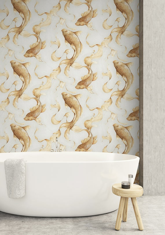 Metallic Wallpaper Fish Wallpaper Modern Wallpaper Abstract Wallpaper Contemporary Wallpaper Wallcovering Avella Koi Wallpaper