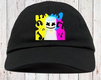 11beaf36fc5fb DJ Marshmello Face Black t-shirt (Edm Dwp Rave Party) Dad Hat Strapback