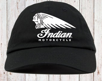 ead71a32a0c Indian Biker Motorcycles Dad Hat Strapback