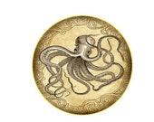 Wow! SET OF 2 Steampunk Nautical Vintage Gold Kraken Octopus GLASS Cabinet Drawer bifold Bi Fold Closet Door Knob Squid Pull Handle
