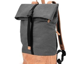 Waterproof Roll-Top Backpack made of cork (dark grey/natural)