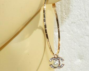 0f694dcc12 Hoop Earrings , Designer Inspired Earrings Crystal Charm Gold Circle  Earrings