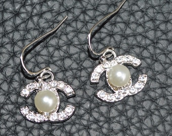 2e54c9c06 Designer Inspired Earrings Pearl Crystal Silver Colour Hook Earrings