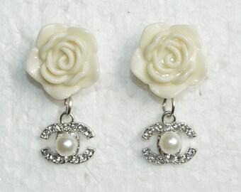 87182e111 Designer Inspired Earrings Pearl Crystal Silver Charm Ivory Cream Camellia  Rose Flower Stud Earrings
