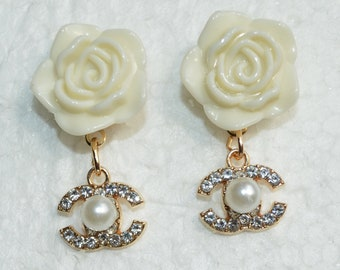 670a5afa2 Designer Inspired Earrings Pearl Crystal Gold Charms Ivory Cream Camellia  Rose Flower Stud Earrings