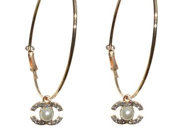 9a8966c69 Hoop Earrings Designer Inspired Earrings Crystal & Pearl Charm Gold Circle  Earrings