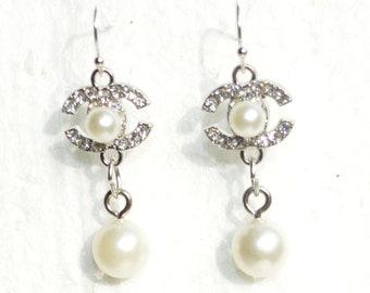 55768d36d Designer Inspired Earrings Pearl Crystal Silver Charms Hook Earrings