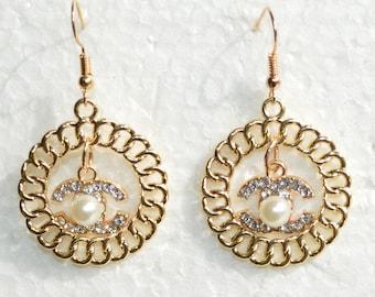 e409d1451 Designer Inspired Earrings Pearl Crystal Gold Chain Circle Charms Ball Hook  Earrings