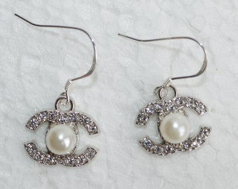 3193d42c1 Designer Inspired Earrings Pearls Crystal Charms 925 Sterling Silver Hook  Earrings