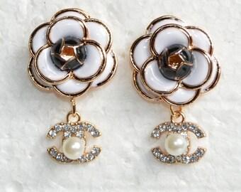 3979b08c2 Designer Inspired Earrings Crystal Charms Enamel White Black Camellia Rose  Flower Stud Earrings