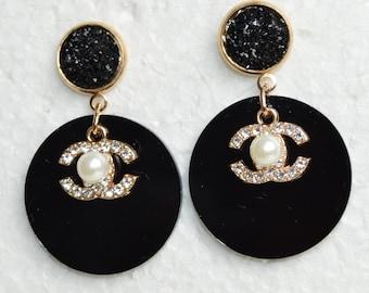 88496af53 Designer Inspired Earrings Crystal Charms Black Circle Disc Gold Stud  Earrings