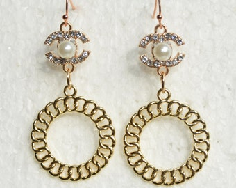 3f8cc649e Designer Inspired Earrings Pearl Crystal Gold Chain Circle Charms Hook  Earrings