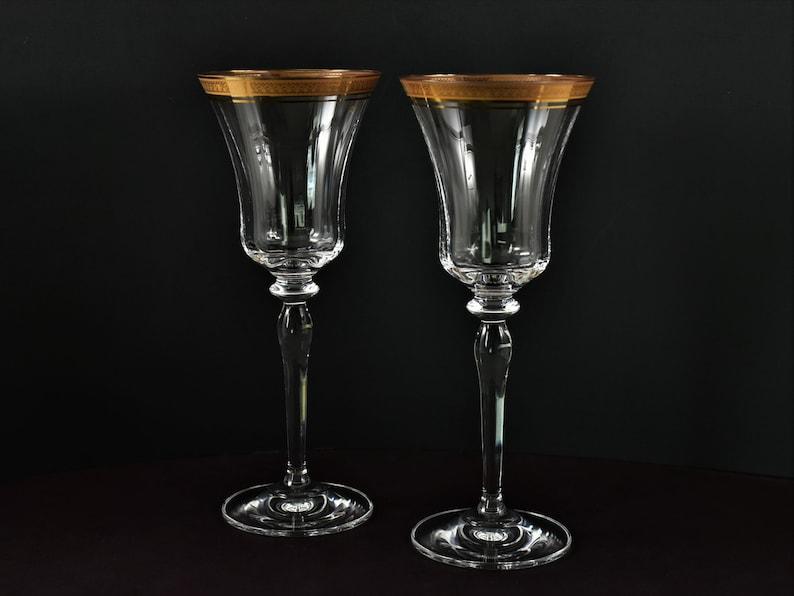 Set of 2 Mikasa Jamestown Gold Rim Crystal Wine Glasses