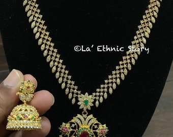 62d3e1158 Indian jewelry, CZ necklace set, South Indian necklace set, wedding  necklace, American diamond necklace, Indian traditional jewelry, ethnic