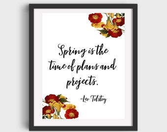 Leo Tolstoy Quote Spring Art Printable DIGITAL DOWNLOAD