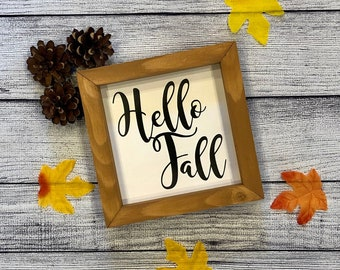 Hello Fall Wood Sign   Fall Decor   Fall Signs Wood   Happy Fall   Small Fall Signs   Fall Signs for Tiered Tray   Fall Farmhouse Signs