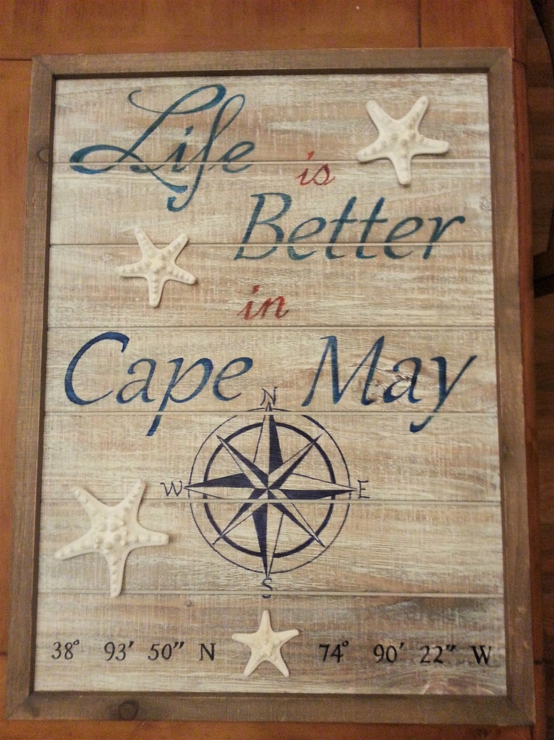 Life is Better in Sign, Cape May Coordinates and Compass, Latitude and  Longitude Sign, Custom Latitude and Longitude Signs