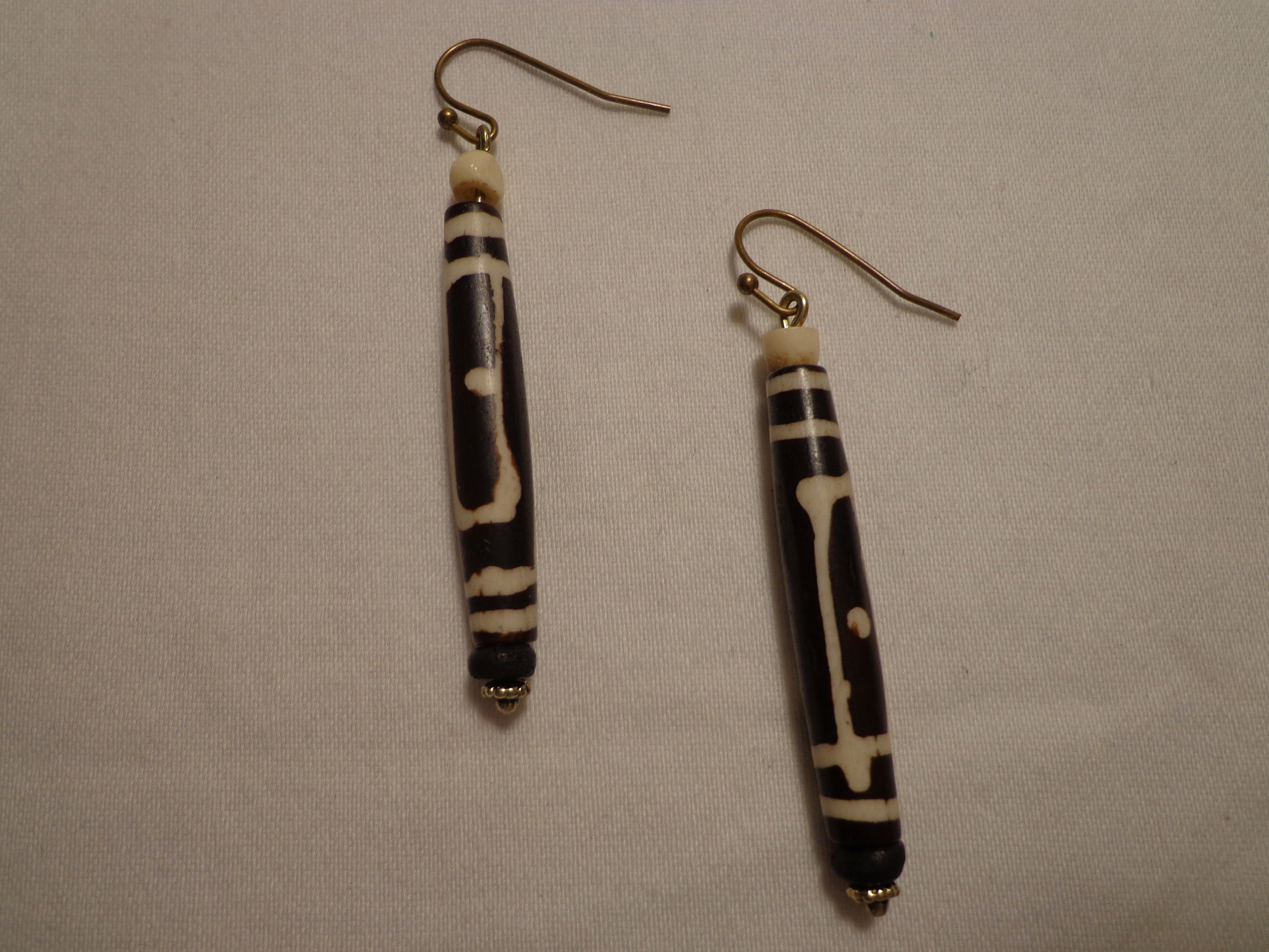 Sale Earrings Ethnic Style Black And White Bone Carved Etsy