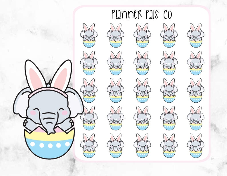 Planner Stickers Elephant Planner Stickers Easter Egg Eloise the Elephant