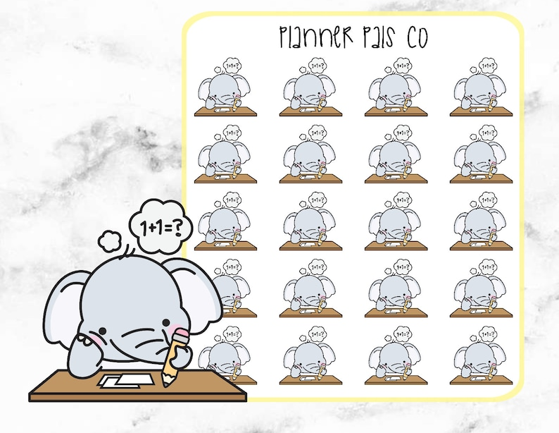 Elephant Planner Stickers Planner Stickers Studying Eloise the Elephant Homework