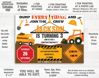 Construction Invitation Instant Download Birthday Printable Evite Dump Truck Digger Editable PDF