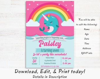 Narwhal Birthday Invitation Instant Download Under The Sea Invite Printable Magical Rainbow Unique Party Editable PDF