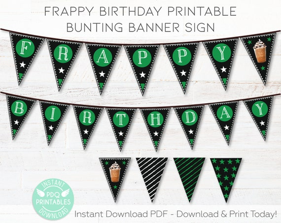 Coffee Shop Birthday Banner Sign Printable, Frappy Birthday Coffee Party  Decor, Coffee Party Printable Sign Instant Download