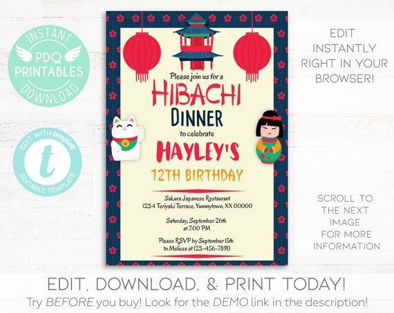 Hibachi Dinner Birthday Invitation Instant Download Lunch Japanese Restaurant Party Sushi Digital Printable Editable Template
