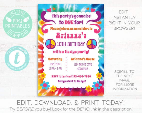 Tie Dye Invitation Birthday Instant Download Groovy Hippie Printable Digital Invite Editable Template