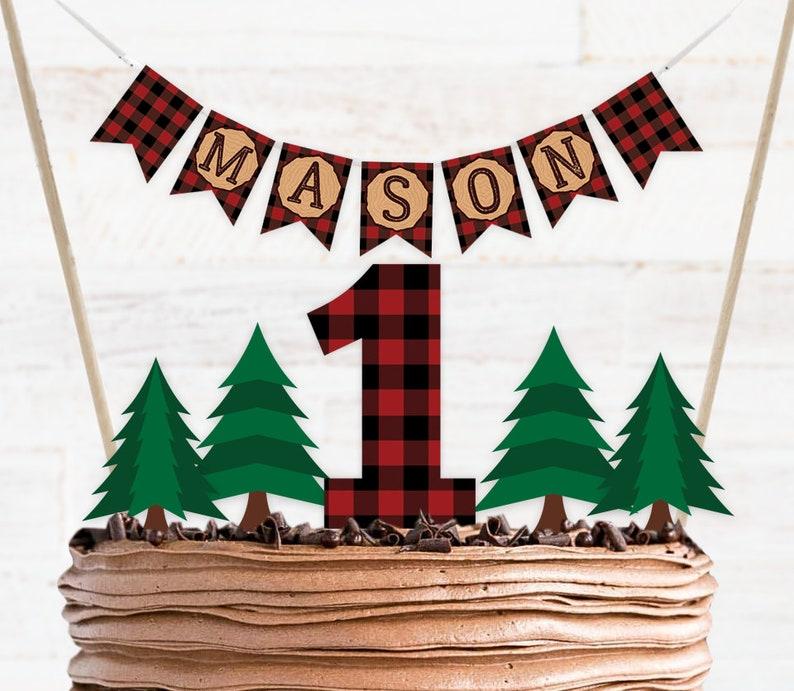 Lumberjack Cake Topper Printable Lumberjack First Birthday image 0