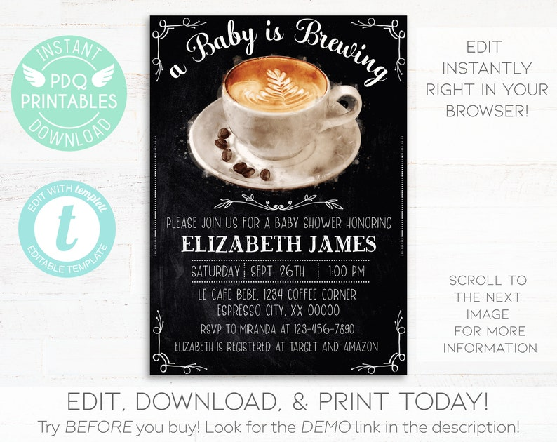 A Baby Is Brewing Invitation Coffee Instant Download Shower Printable Cafe Chalkboard Digital Editable Template
