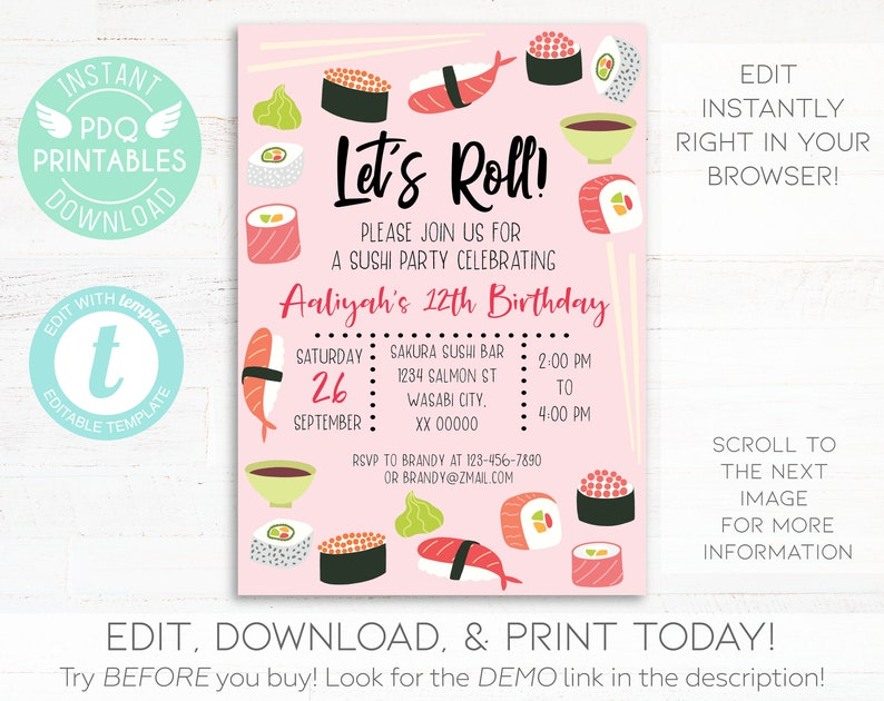 Sushi Birthday Party Invitation Instant Download Printable Girl Japanese Food Dinner Lunch Digital Editable Template