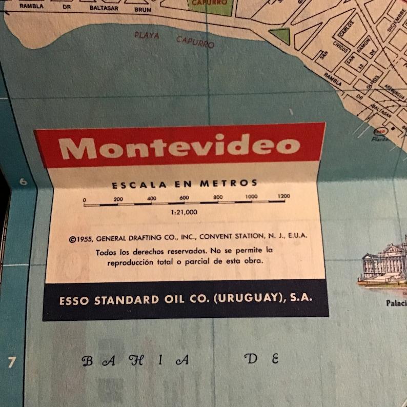 1955 Esso Uruguay Road Map