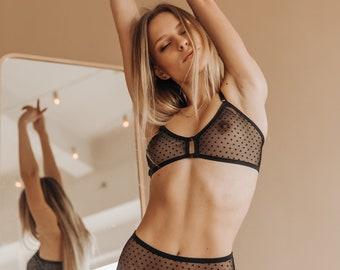 aafe5c276 Black dot lingerie set Mesh lingerie lacy bra panties women s underwear  transparent