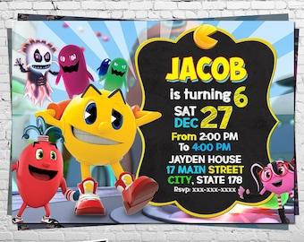 Pac Man Birthday Invitation Game Party Pacman Theme Card