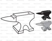 Anvil. Cut files for Cricut. Clip Art silhouettes (eps, svg, pdf, png, dxf, jpeg).