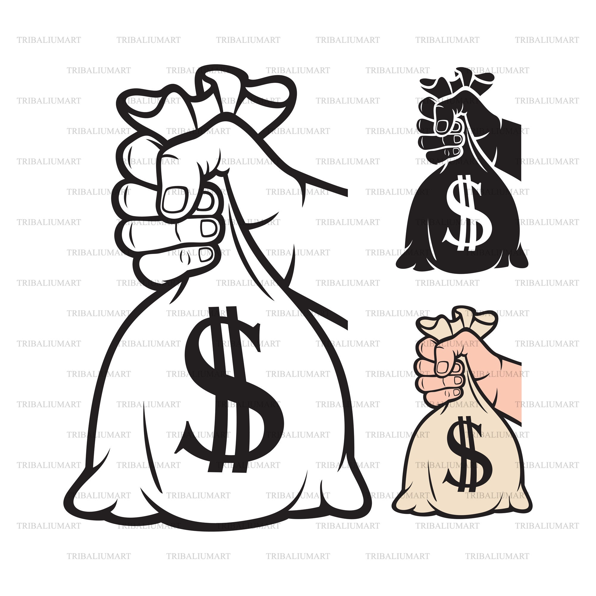 Download Hand holding money dag with dollar sign. Cut files for ...